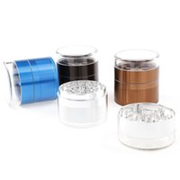 Wholesale coffee grinder free shipping - Transparent Cover Metal Grinder Aluminium Alloy Dry Herb 63mm Diameter 5 Layer Black Blue Silver Coffee Free Shipping DHL