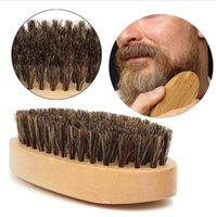 Wholesale round peach - New Boar Hair Bristle Beard Mustache Brush Military Hard Round Wood Handle Anti-static Peach Comb Hairdressing Tool for Men