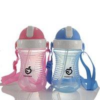 bebek ayı şişesi toptan satış-Elma Ayı Bebek İçecek Sippy Kupası Sızdırmaz Bebek İçme Kupası ile Kupası 280ML Şişe İçmeyi öğrenin