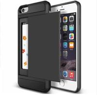 funda iphone slide al por mayor-Estuche rígido de almacenamiento con tarjeta monedero para iPhone 7 8 6s Plus X XR XS MAX Funda TPU de doble capa