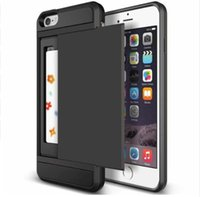 iphone folie fall brieftasche großhandel-Tough Slide Wallet Card Lagerung Rüstung Fall für iPhone 7 8 6 s Plus X XR XS MAX Dual Layer TPU Fall