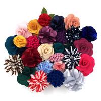 blütenreversstifte der männer großhandel-Mens Revers Blumen Assorted Seidenmischung Fashion Handmade Boutonniere Stick Pin Hochzeit