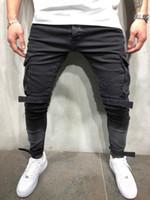 индивидуальные брюки оптовых-Skinny Fit разрушенный синий эластичный модный уличный стиль джинсы мужские классические проблемные хип-хоп личность мужской джинсовые брюки
