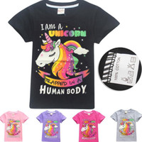 Wholesale Wholesale Horse T Shirts - Girls INS Unicorn T shirt Children fashion Short sleeve t shirt 5 Color big Baby kids clothing for 6~14years horse Tops tee KKA5034