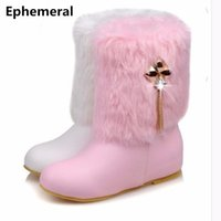 Wholesale american wedges - Ladies Fur Fashion Winter Snow Big size 34-44 Crystal Boots Round toe American Style High Increasing Low Heel Booty Women Shoes