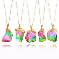 steinsüßigkeit großhandel-Arbeiten Sie neue Sieben-Farben-Naturstein-hängende Halskette transparente Süßigkeit-Farben-Regenbogen-Farben-Stein-Halsketten-lange Halsketten-Schmucksachen H212F um