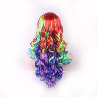 Wholesale Long Rainbow Wigs - heat resistant WoodFestival multicolour women hair mixed color wigs synthetic wigs heat resistant rainbow wig long curly wig 60cm