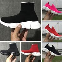 orta öğreticiler toptan satış-2018 Çocuklar Moda Ayak Bileği Çizmeler Hız Streç Mesh Yüksek Top Trainer Koşu Ayakkabıları Hız Örgü Çorap Orta Üst Eğitmen Sneakers