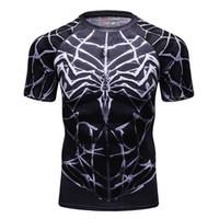 ajustado para hombre camisetas al por mayor-Camisetas de compresión para hombres MMA Rashguard Keep Fit Fitness Camisetas de manga corta Skin Layer Tight Weightlifting Elastic Camisetas para hombres