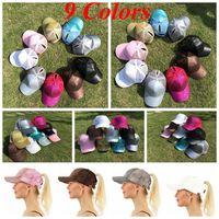 Wholesale Sequin Hats Caps - CC Glitter Ponytail Baseball Cap Dad Hat Snapback Hip Hop Caps Women Messy Bun Sequins Shine Summer Mesh Trucker Hats OOA4865
