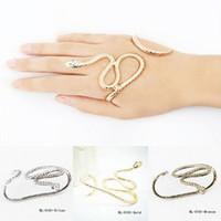 Wholesale sexy hand cuffs - 1 PC Fashion Punk Snake Crystal Hand Palm Bracelet Sexy Bangle Cuff Bracelets