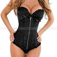 ingrosso corsetto con zip-Classico corsetto broccato nero con zip davanti pizzo top bustier sexy lingerie shaper S M L XL 2XL