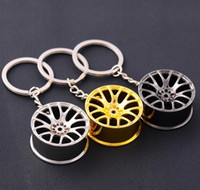 Wholesale rims keychain - Luxury metal Car Keychain creative wheel hub chain Car Personality Keyring Wheel Rim Model Key Chain For Man Women Gift GGA383 100PCS
