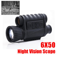 Wholesale night vision infrared telescope - WG650 Night Hunting Digital Optical Infrared 6X50 Night Vision Monocular 200M Range Night Vision Telescope Picture and Video