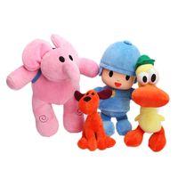 pokoyo peluş toptan satış-YENİ Pocoyo Elly Pato Pocoyo Loula Peluş Bebek Doldurulmuş Oyuncaklar Brinquedos Çocuklar Hediye (4 adet / Lot / Boyutu: 14-25cm)