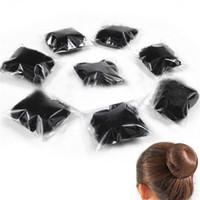 cubiertas de pan al por mayor-5 Unids / lote Mujeres Ballet Dance Patinaje Snoods Black Hair Net Bun Cover