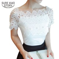 Wholesale black slim shirt korean women - shoulder slash neck solid color summer short sleeve women lace shirt Korean slim sexy women bottoming lace blouse top 80F 30