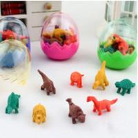 kauçuk yumurtaları toptan satış-Karikatür Dinozor Yumurta Silgi Silgi MINI Kauçuk renkleri çeşitli Okul Malzemeleri