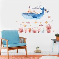temas de arte al por mayor-Decoración para el hogar Fondo Etiqueta de la pared Arte Sala de estar Encantadora delfín Tema Pegatinas para habitaciones de los niños Dormitorio Ecológico 4zh jj