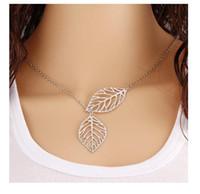 freies metall match großhandel-Nagelneue europäische und amerikanische Art und Weiseschmucksachen, Metalldoppelblatt Halskette, Allgleiches Schlüsselbein Ketten-Halskette Freies Verschiffen