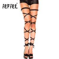 Wholesale sexy leather costume for halloween resale online - wrap leather iEFiEL Pair Women Lady Shiny Patent Leather Leg Wraps Harness With Elastic for Sexy Women Halloween Costumes Party Stockings