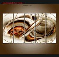 kahverengi tuval resmi toptan satış-Büyük 5 Panel Modern Soyut Kahverengi Beyaz Çizgiler Duvar Sanatı Boyama Güzel Resim Baskı Tuval Üzerine Ev Dekor Dekorasyon Hediye ASet191
