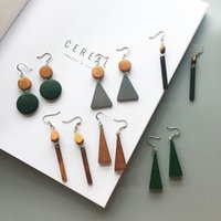 Wholesale Crystal Geometry - Extremely simple and retro original wood - colored geometry star - wood earrings with a long earring earring