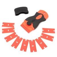 cubierta de coche de hielo al por mayor-Cuchillas de acero Cuchillo Teñido Herramientas Raspador de hielo Car Squeegee vinilo Film Stickers Covers Tool 10 Plastic Scraper 10pcs