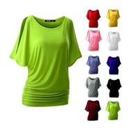 хлопок футболка ватин оптовых-Женская мода хлопок футболки женщины топы шею Bat рукавом топы рубашки повседневные рубашки
