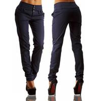 nuevos pantalones femeninos calientes al por mayor-Harem Pants Women New Hot Fashion Mujeres Moda Tobillo-longitud Pantalones Mujer Classic High Elastic Waist