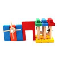 construção de dominó venda por atacado-Blocos de Construção de Tijolos de Brinquedo Criança De Madeira Colorido Puzzle Educacional Toy Set 120 pcs Padrão Dominó + Órgão + Cartão de Código Bloco de Construção