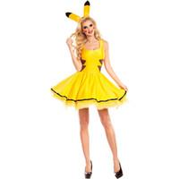 japonês natal roupa venda por atacado-Traje de Halloween Japonês Anime Pikachu Cosplay Vestuário Pikachu Amarelo roupas de animais de Páscoa Anjo Natal Elf Sexy Uniforme