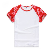 Wholesale Camo T Shirts Wholesale - Summer Outdoors Camouflage Red Blue T-shirt Men Breathable Army Tactical Combat T Shirt Military Dry Sport Camo Outdoor Camp Tees S-3XL