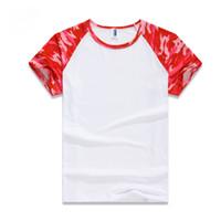 camisas de camuflaje rojo al por mayor-Verano al aire libre Camuflaje camiseta azul rojo Hombres camiseta de combate táctico del ejército respirable Camisa al aire libre seco del campamento Camo deportivo S-3XL