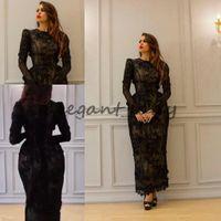 vestidos modestos do comprimento do chá venda por atacado-Yousef Aljasmi Vintage Tea-comprimento 3D Vestidos de Noite Floral com Manga Longa 2018 Modest Alta Neck Full Back Dubai Árabe Vestidos de Baile