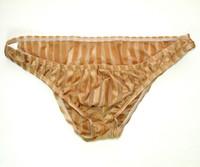Sexy Mens Low Rise Bikini Panties G3188 Front Pouch Moderate Back Stripes C-thru fabric mens underwear