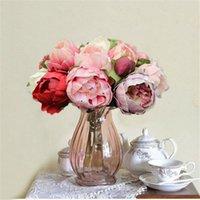 ingrosso rose di peonia falso-Il nuovo disegno di nozze fiore falso Roses Bouquet reale di tocco PU Peony 8 Capolino fiori artificiali per la decorazione di casa di cerimonia nuziale
