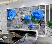 Wholesale blue wall mural resale online - 3d room wallpaper on a wall custom photo HD blue rose brick wall Home decoration living room d wall murals wallpaper for walls d