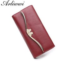 Wholesale natural style landscaping - Arliwwi 100% Genuine Natural Cow Leather Functional Long Purses For Women Large Capacity Long Feminine Elegant Cluthes Wallet