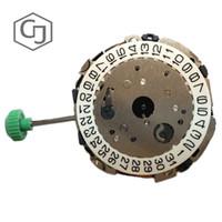 düğme japonya toptan satış-Toptan 5 Adet / grup Miyota FS00 3 Gözler Chronograph Japonya Yapımı Kuvars Hareketi Eğimli Push Button