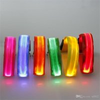 Wholesale red dog collar light online - LED Light Up Luminous Arm Band Glow Nylon USB Charge Dog Collars Pet Leash Flash Lights Night Run Security Warn mq bb