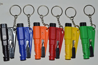 Wholesale car safety hammer - Mini Safety Hammer 3-In-1 Emergency Escape Car Window Glass Breaker Keychain SOS Whistle Knife Cutter Seat Belt EMS Shipping