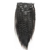 Wholesale clip in human hair extensions for sale - Kinky Straight Human Hair yaki All color Hair Clip in Brazilian Remy yaki Hair set Extensions