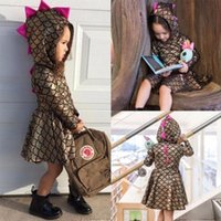 Wholesale Fishing Line Brands - Baby girls Fish scales princess dresses INS Children Mermaid Dress 2018 new Boutique Kids dinosaur Hooded Clothing C3579