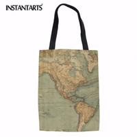 cartouches achat en gros de-INSTANTARTS World Map Print Women Big Tote Sac réutilisable Designer célèbre écologique Pochette en tissu Casual Girls Daily Shopping Bag