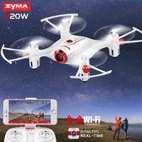 cámara de aviones al por mayor-SYMA X20W Mini Drone WIFI Cámara FPV Tiempo real Tránsito RC Dron Quadcopter 2.4G 4CH 6-aixs Giroscopio Plan de vuelo Avión de control fácil