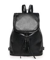 mochilas modernas mujeres al por mayor-2017 recién llegado de moda para mujer bolsos de hombro sólido ocasional negro bolsos de cadena de cuero de la PU para niñas mochila moderna