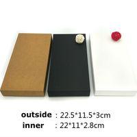 lenço marrom venda por atacado-20 pcs 22.5 / 14x11.5x3 cm preto / marrom / branco papel kraft diy retro carteira caixa de jóias lenço lenço caixas de presente padrão preto