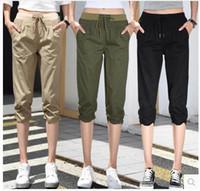 Wholesale cotton trouser fabric - New spring summer fashion women's cotton fabric loose palazzo elastic waist capris cargo pants short trousers plus size SMLXLXXL3XL4XL