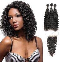 natürliche menschliche haarfirma großhandel-Laflare Hair Company Indian Virgin 100% Echthaar Deep Wave 3 Bundles Mit Mittelteilverschluss Im Angebot